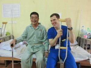 Conor working at a volunteer project in Vietnam